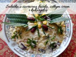 Sałatka z czerwoną fasolą, żółtym serem i kukurydzą. Poczęstuj nią znajomych